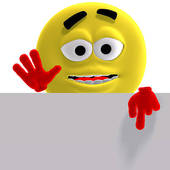 170x170 Clip Art Of Cool And Funny Yellow Emoticon Says Look Here K2601822