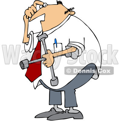 400x400 Free (Rf) Clip Art Illustration Of A Confused Businessman Holding