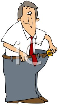 196x350 Cartoon Of A Man Who Lost Weight Wearing His Fat Pants