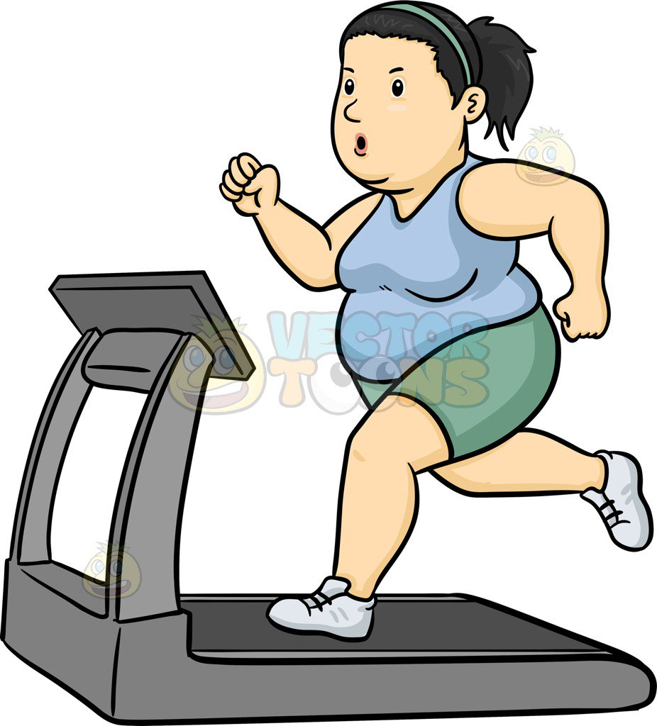 926x1024 A Fat Woman Using The Treadmill To Lose Weight Cartoon Clipart