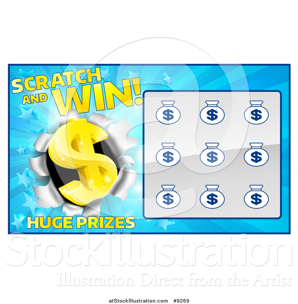 1024x1044 Vector Illustration Of A Blue Instant Scratch And Win Lottery Card