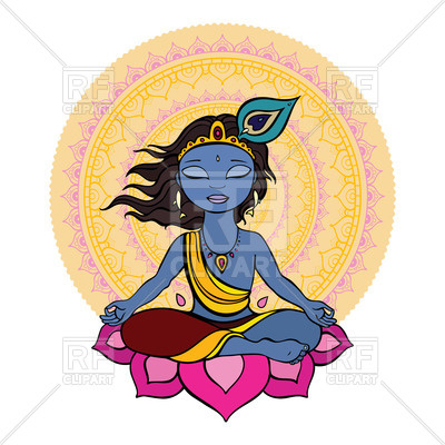400x400 Hindu God Krishna Sits On Lotus Against Mandala Royalty Free