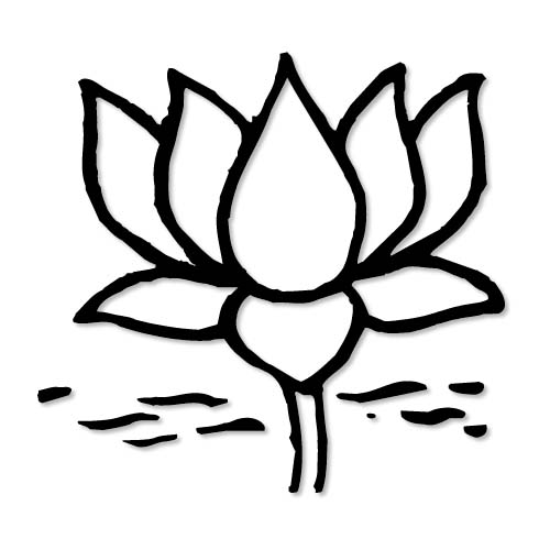500x500 Lotus Flower Line Drawing Clipart