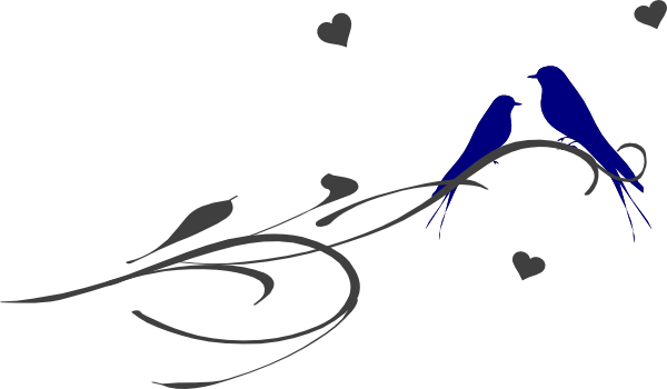 600x350 Love Birds On A Branch Clip Art