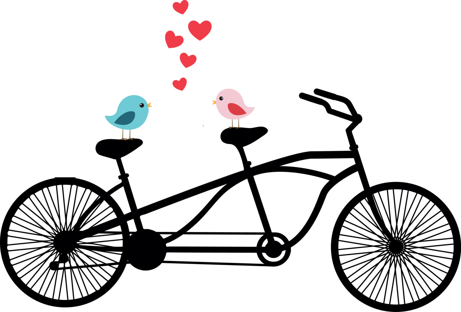 1500x1016 Tandem Bicycle Clipart Love birds Wedding invitation