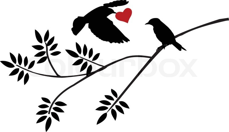 800x462 Vector Illustration Of Flying Bird Silhouette With A Love