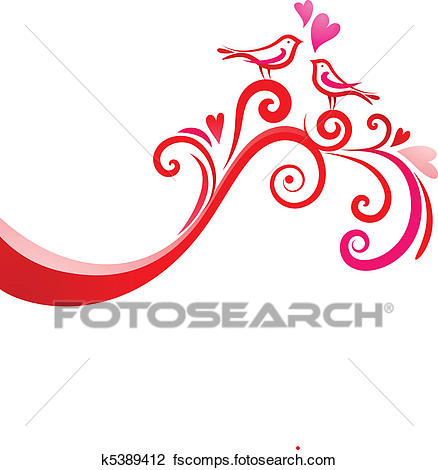 438x470 Clipart Of Love Birds K5389412