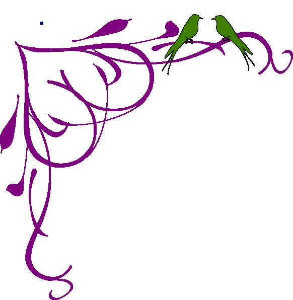 582x596 Love Birds Grey Corner Frame Purple Clip Art