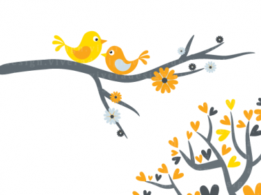 375x281 Love birds in yellow and grey digital clip art meylah image