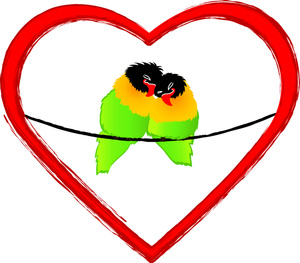 300x263 Lovebirds Clipart Image