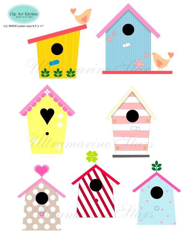 612x792 Printable Digital clip art Love Bird House Printables
