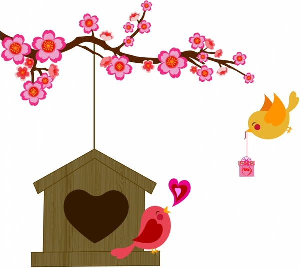 600x536 Blossom clipart love bird tree