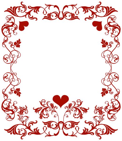 520x600 Valentine#39s Day Decorative Border Transparent PNG Clip Art Image