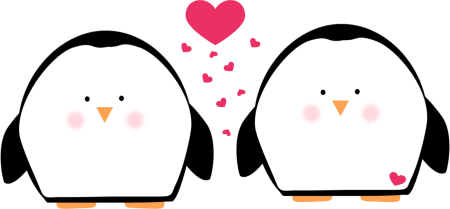 450x209 Two Penguins In Love Clip Art