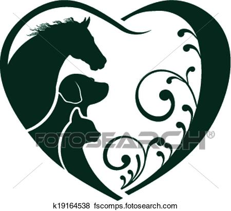 450x411 Clip Art Of Logo Horse, Dog And Cat Love Heart K19164538