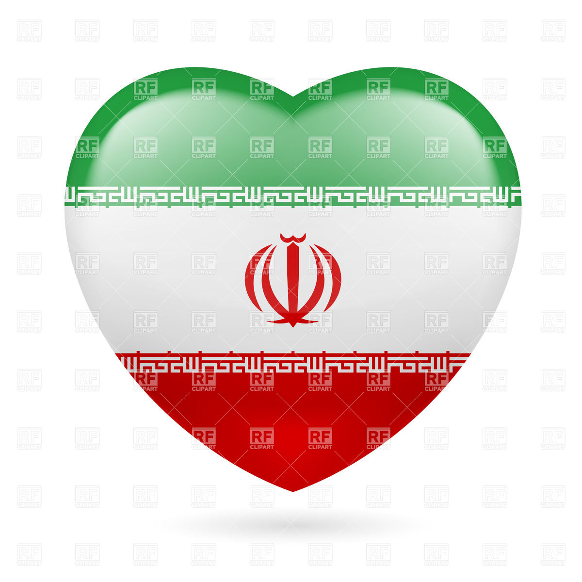 1200x1200 Heart With Iranian Flag Colors. I Love Iran Royalty Free Vector