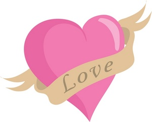 300x240 Love Clipart Image Pink Heart With A Banner And The Word Love