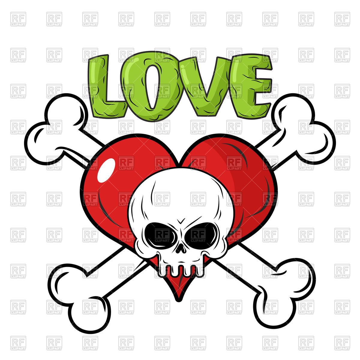 1200x1200 Skull, Crossbones And Heart