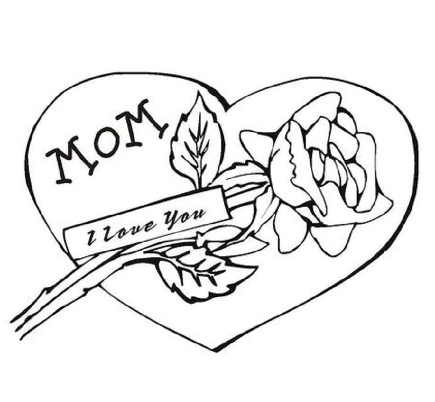 889x822 I Love You Coloring Pages Mothers Day
