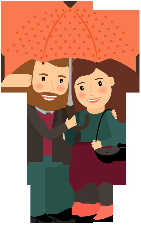 560x890 Happy Cartoon Couple Under Umbrella In Love Hugging 1designshop