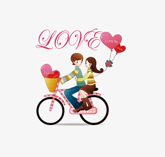 582x551 Bike Couple, Love, Bicycle, Hand Painted Cartoon Png Image