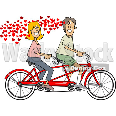 400x400 Of A Cartoon In Love Caucasian Couple Riding A Tandem Bike