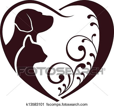 450x419 Clipart Of Cat Dog Love Heart K13583101