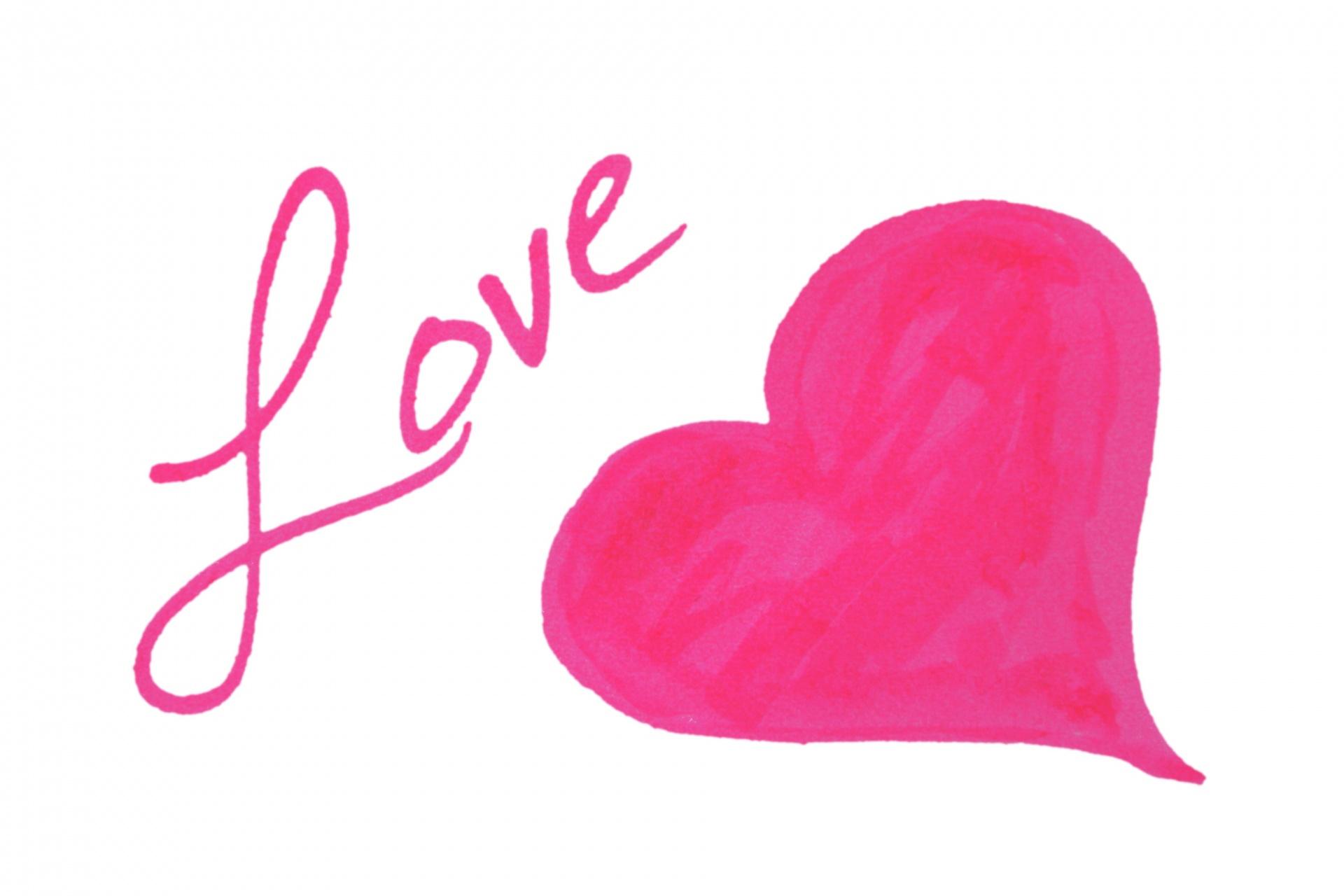 1920x1280 Pink Heart, Inscription, Love Free Stock Photo