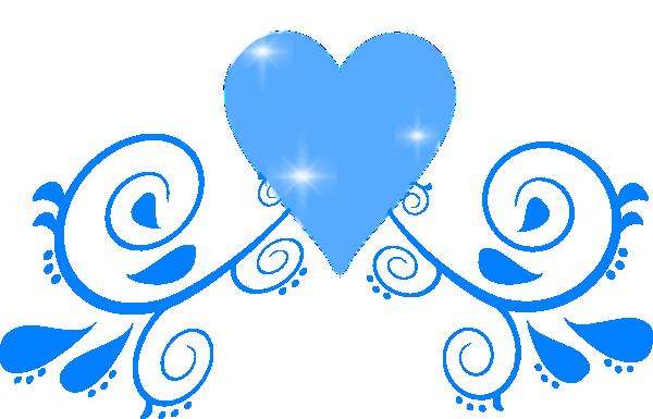 600x385 Blue Heart Swirl Clip Art