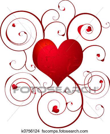 387x470 Drawings Of Love Heart Swirl K0756124