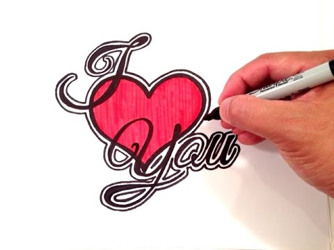 480x360 How To Draw I Love You With A Heart And Border