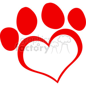 300x300 Royalty Free Red Love Paw Print 386541 Vector Clip Art Image