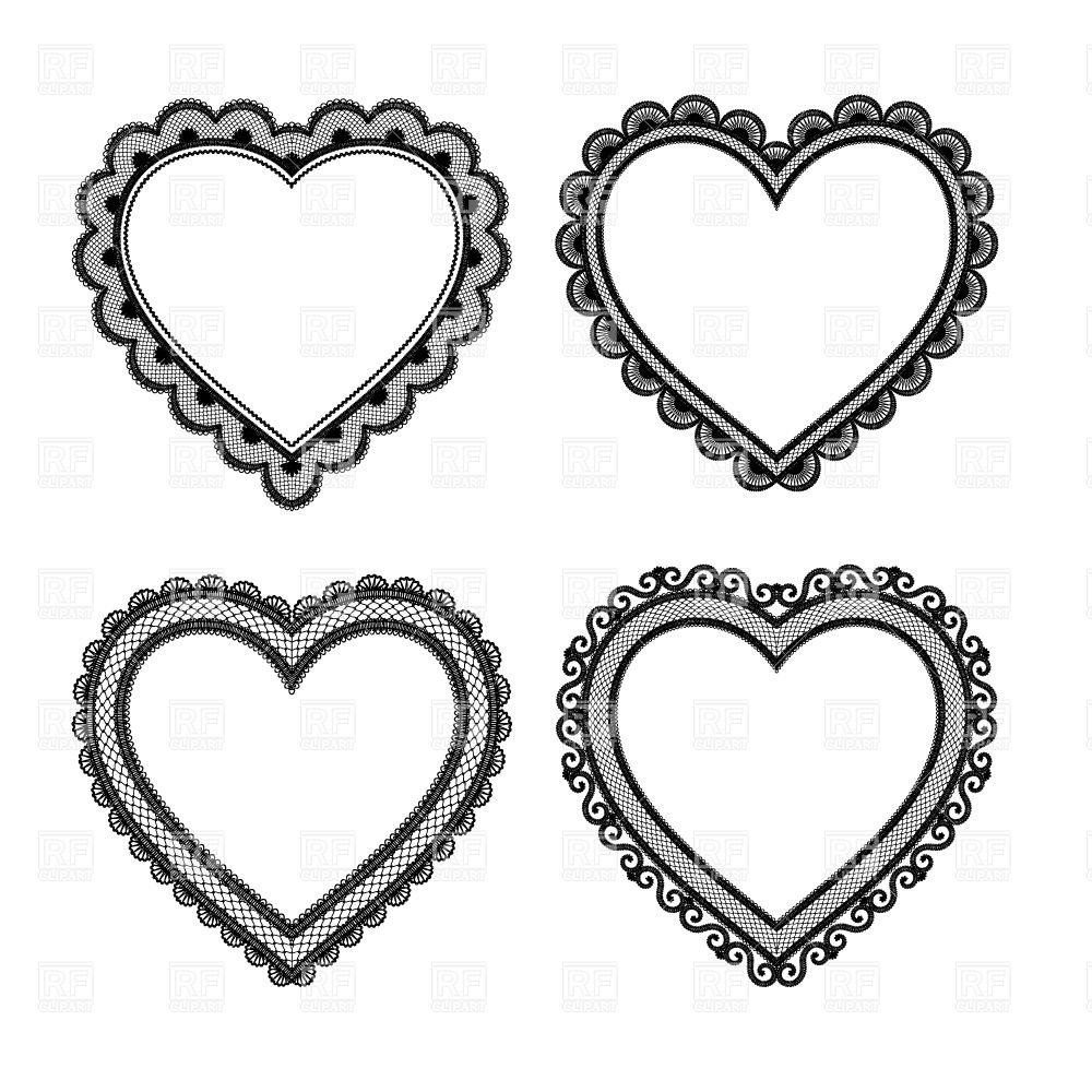 1000x1000 Set Of Black Lace Hearts Royalty Free Vector Clip Art Image