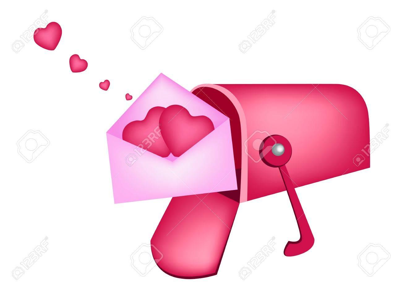 1300x945 An Open Standard Mailbox Or Letter Box Receiving Love Letter