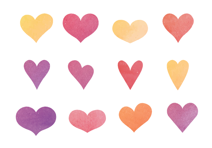700x490 Cute Watercolor Hearts Vector