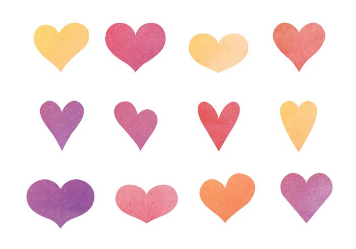 700x490 Cute Watercolor Hearts Vector