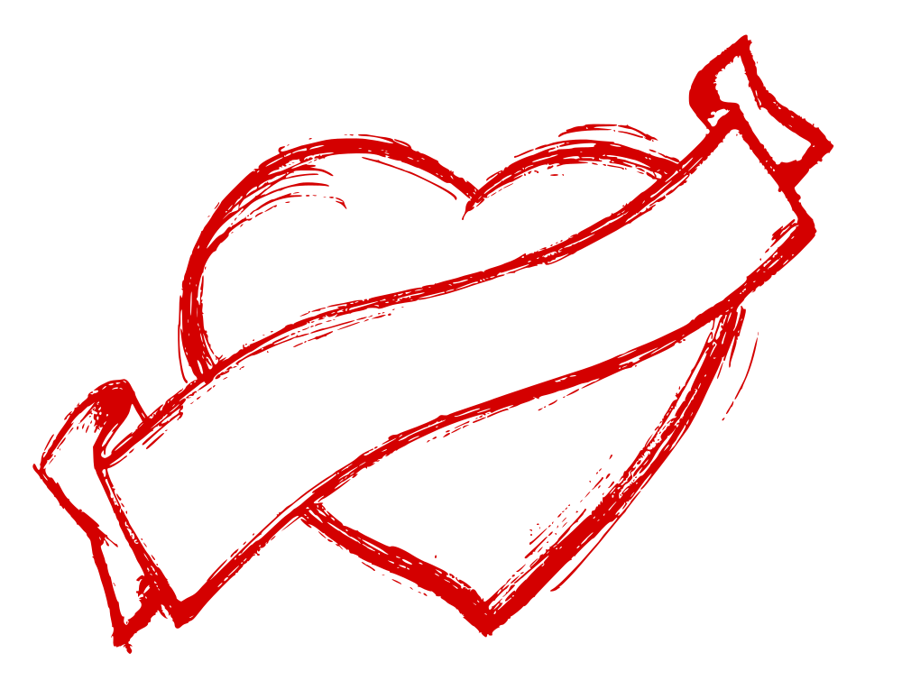 1000x775 Hand Drawn Heart With Ribbon Vector (Eps, Svg, Png)