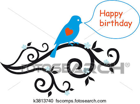 450x334 Clipart Of Happy Birthday Card With Lovebird K3813740