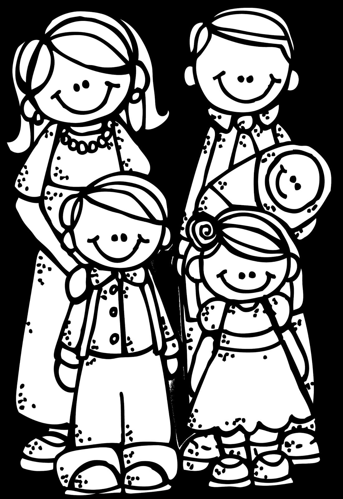 1101x1600 Loving Family Clipart Black And White