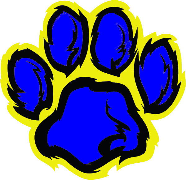 600x582 Blue And Gold Tiger Paw Clip Art