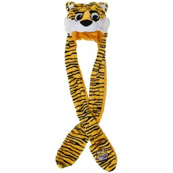 350x350 Tigers Plush Thematic Mascot Long Knit Hat With Hand Warmers