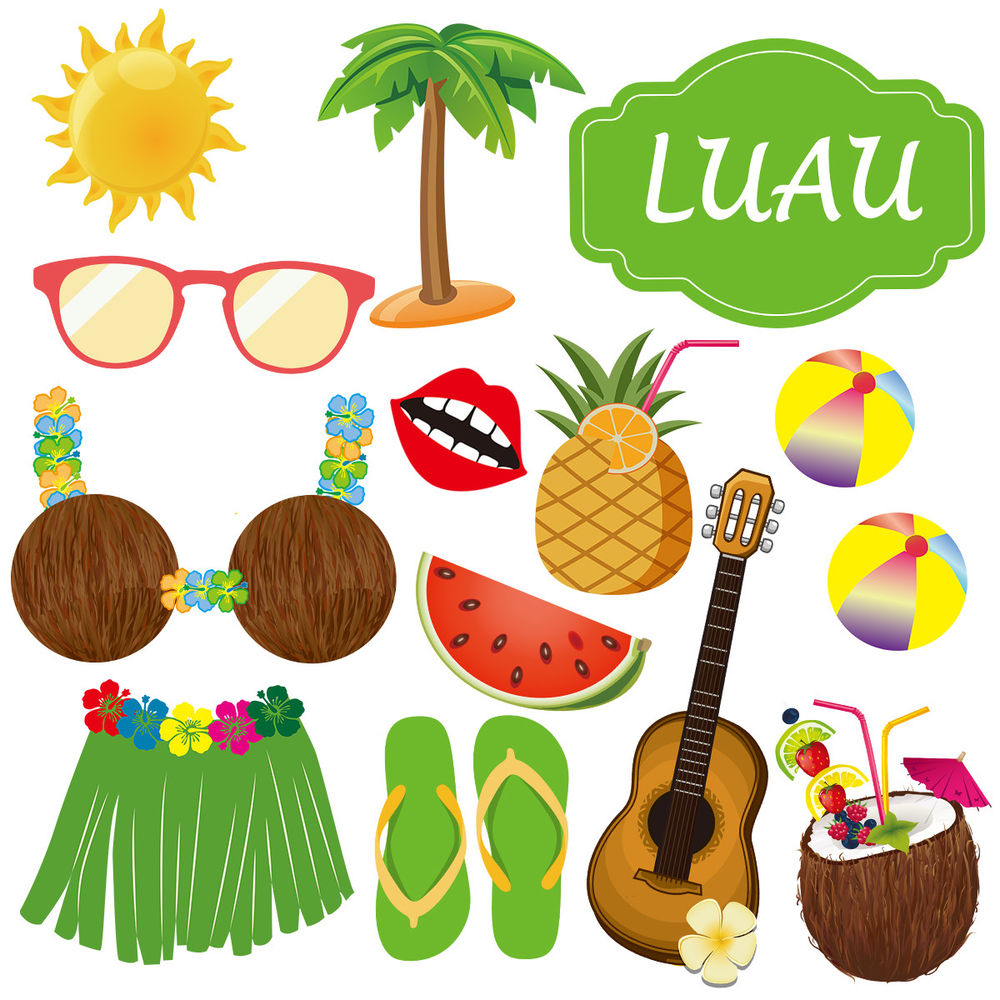 1000x1000 36pack Luau Photo Booth Props Hawaiian Photobooth Props Beach