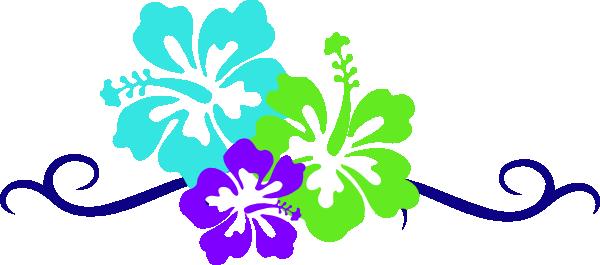 600x265 Luau flowers clip art borders free clipart