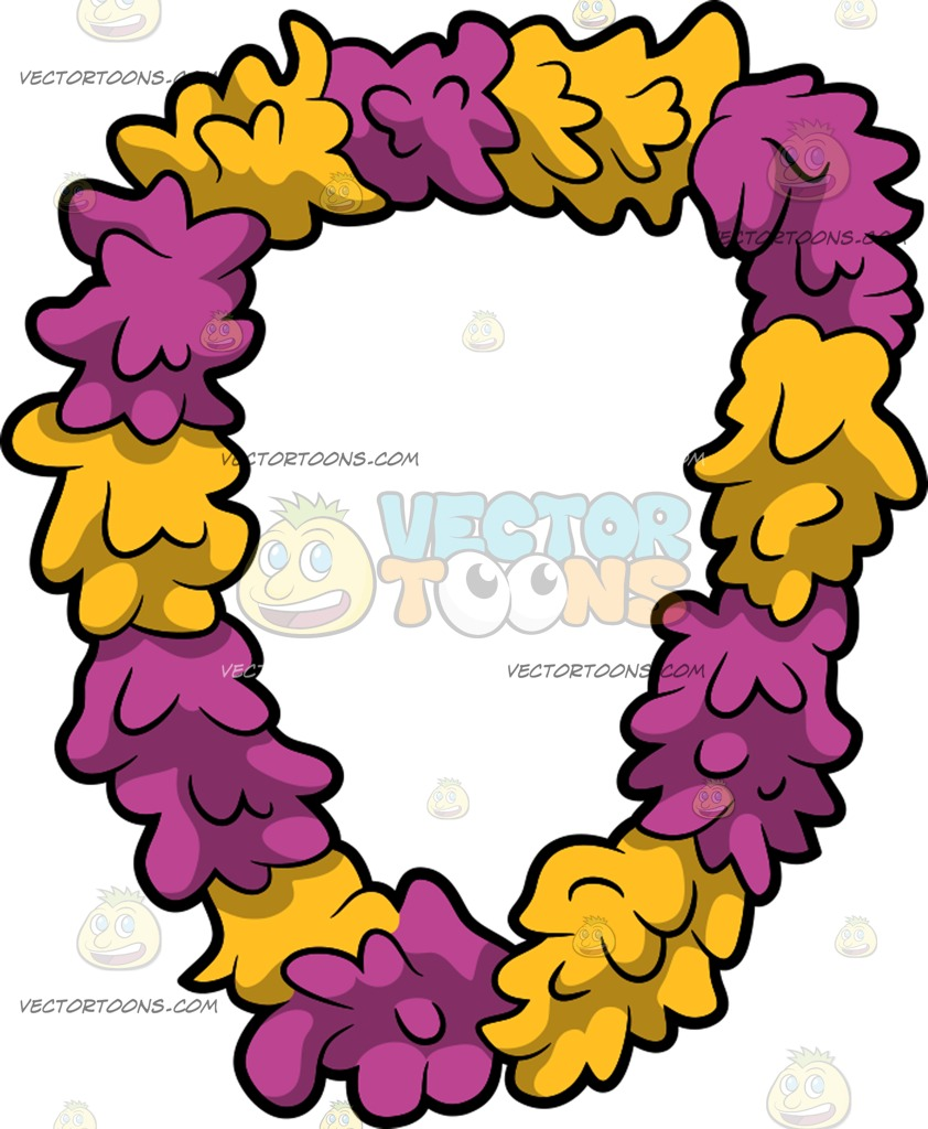 842x1024 A Flower Lei Cartoon Clipart
