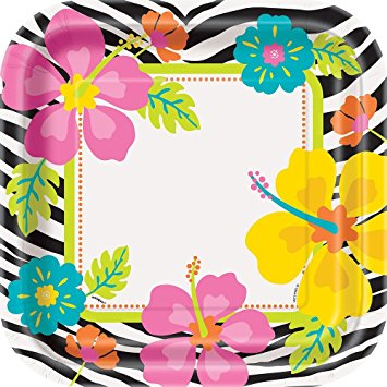355x355 Square Wild Luau Dinner Plates, 8ct Kitchen Amp Dining