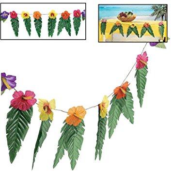 355x355 Hawaiian Luau Garland With Flowers And Green Leaves 72