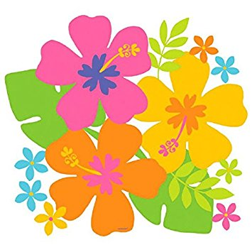 355x355 Hawaiian Summer Luau Party Colorful Hibiscus Cutout