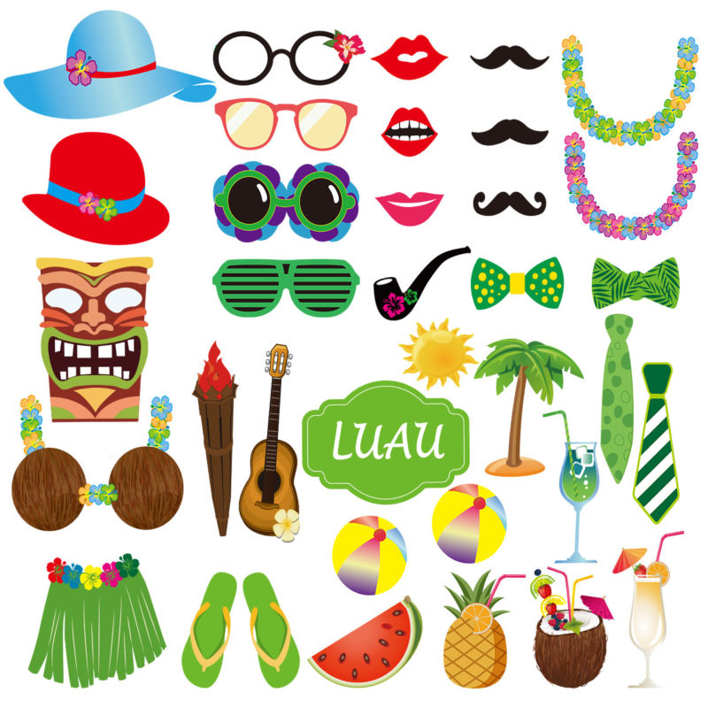 800x800 36pack Luau Photo Booth Props Hawaiian Photobooth Props Beach