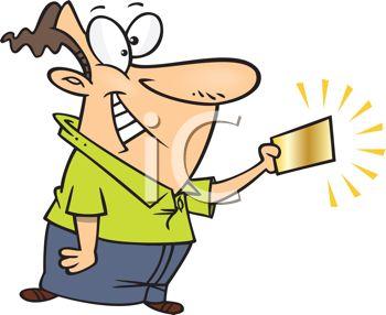 350x286 Cartoon Of A Lucky Man Holding A Winning Gold Ticket