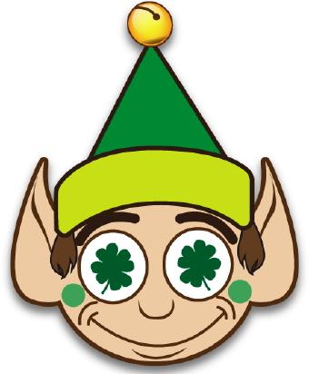 340x412 Lucky Elf With Clover Clip Art